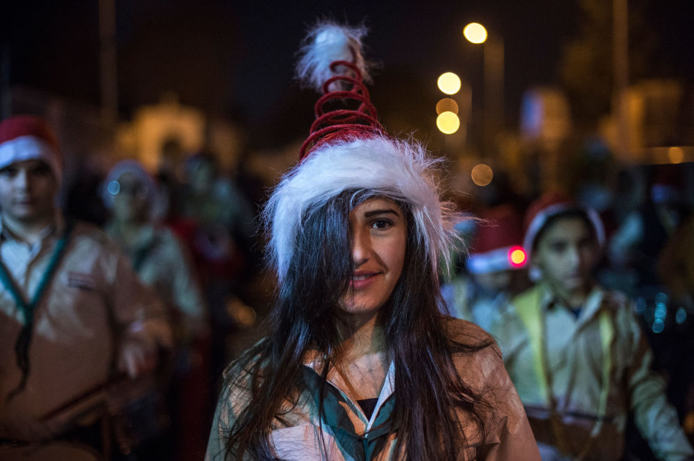 Revelers celebrate Christmas in Damascus, Syria.