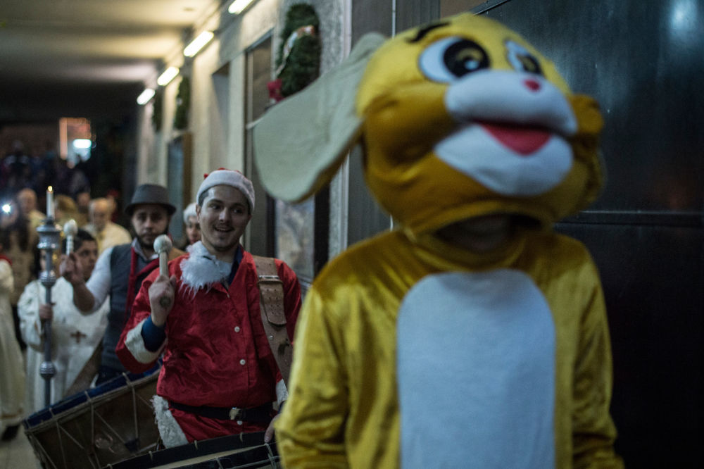 Some revelers also wore non-Christmas-themed costumes.
