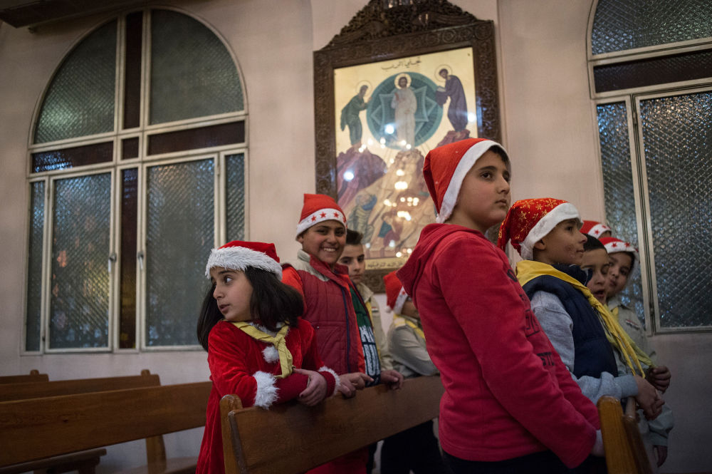 Children in one of Damascus' churches on Christmas.