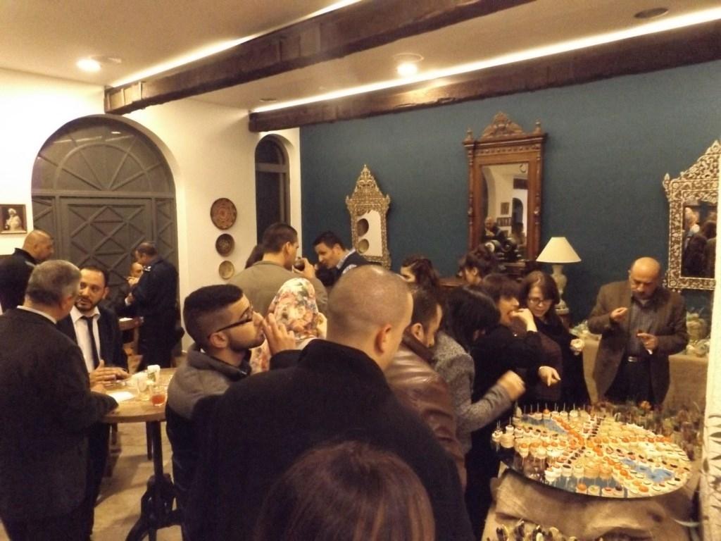 Guests enjoy refreshments at Bethlehem Museum's Al-Karmeh Restaurant – March 5th, 2016