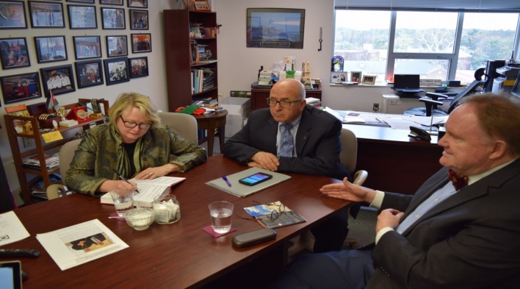 Pictured (from left to right): Dr. Cynthia Finlayson, Ph.D., R.P.A, Sir Rateb Rabie, KCHS, and Hugh Dempsey, K.M. Ob., KCHS, Bethlehem Museum Co-Founder and Consultant.