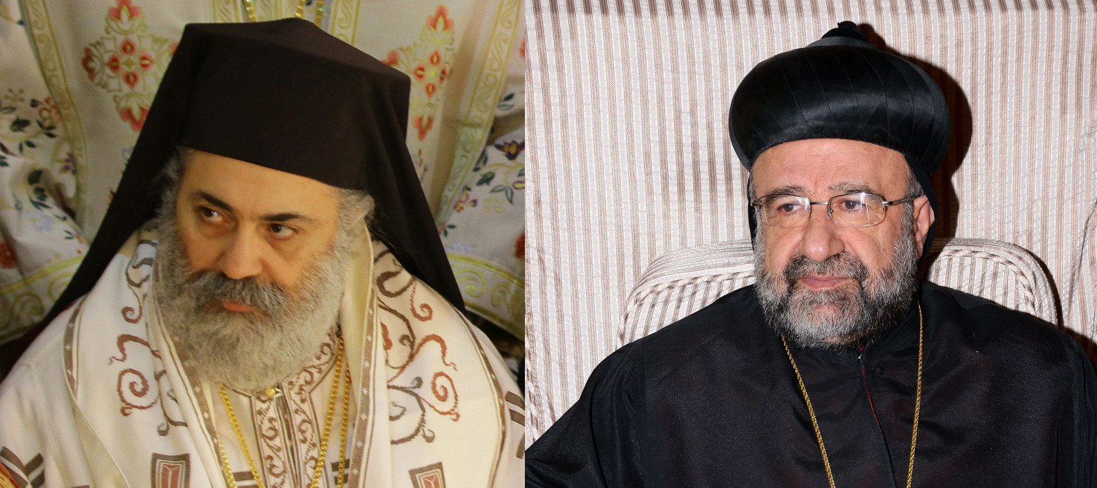 "(FILES) -- A combo of file pictures shows Syrian Bishop Boulos Yaziji (L), head of the Greek Orthodox church in Aleppo, taken on February 10, 2013 in Damascus, and a handout picture released by the Syrian Arab News Agency (SANA) on April 23, 2013, of Bishop Yuhanna Ibrahim (R), head of the Syriac Orthodox Church in Aleppo, on December 25, 2012. An association of Middle Eastern Christians said on April 23, 2013, that the two Orthodox bishops,  Bishop Yuhanna and Bishop Boulos, who were reportedly kidnapped by rebels in northern Syria on April 22, 2013, have been released, in a statement citing Syrian sources.  AFP PHOTO/LOUAI BESHARA and AFP PHOTO/SANA/HO  == RESTRICTED TO EDITORIAL USE - MANDATORY CREDIT ""AFP PHOTO / HO / SANA"" - NO MARKETING NO ADVERTISING CAMPAIGNS - DISTRIBUTED AS A SERVICE TO CLIENTS ==        (Photo credit should read LOUAI BESHARA/AFP/Getty Images)"