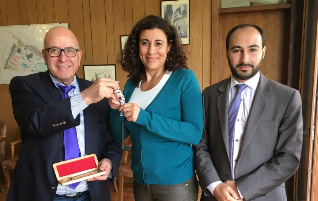 From left to right, Sir Rateb Rabie, HCEF President and CEO; Ms. Nadia Garib, President of the Palestinian Federation, and Mr. Anuar Majluf, Executive Director.