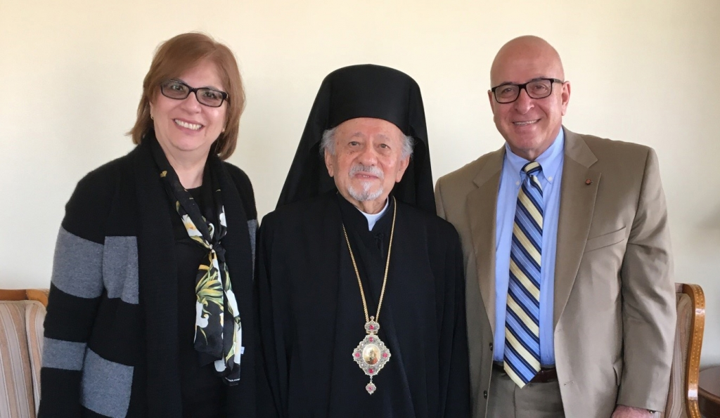From left to right: Lady Rocio Rabie, HCEF Public Relations and Outreach; Monseñor Sergio Abad, Head of the Orthodox Church in Santiago and HCEF Advisory Board Member ; and Sir Rateb Y. Rabie, HCEF President and CEO