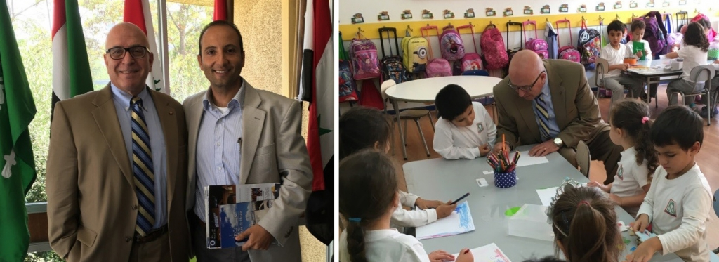 Left Photograph: Sir Rateb poses with Jorge Alamo, Headmaster of the Arab School. Right Photograph: HCEF President and CEO, Sir Rateb Rabie visits with first graders during his tour of the Arab School.