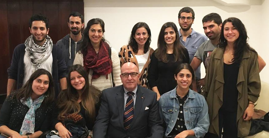 From left to Right- Top Row: [insert names and KTH Years-  I do not know them] Bottom Row: Maria Elena Alamo, KTH 2014; Noelle Salah, KTH 2014; Sir Rateb Y Rabie, President and CEO; [insert name and year]