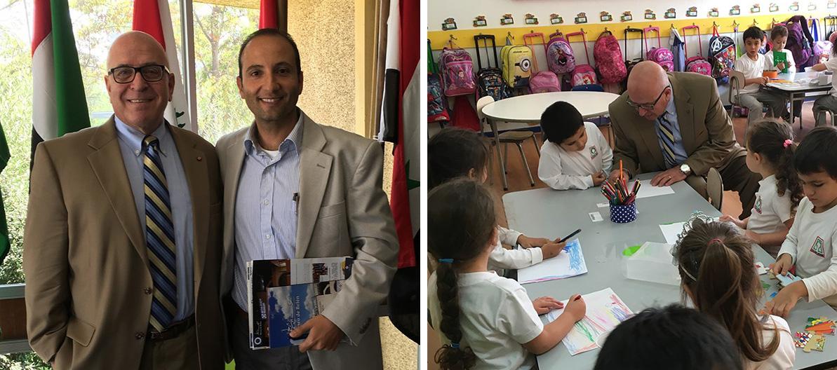 fotografía de la izquierda: Sir Rateb posa con Jorge Alamo, Director del Colegio Árabe de Santiago. Fotografía de la derecha: el presidente y CEO de HCEF, Sir Rateb Rabie comparte con niños de primer grado durante su recorrido por la escuela árabe.
