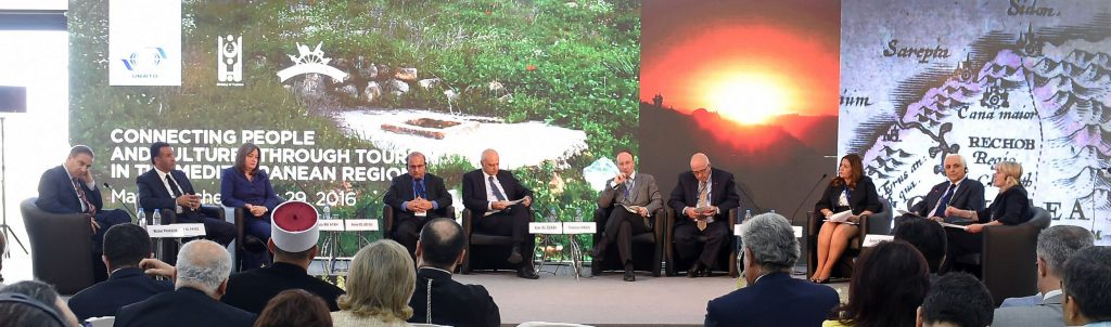 Ministers of Tourism of the Levant joined by religious tourism experts gathered to discuss challenges and suggestions for supporting religious tourism. From Left to Right: Michel Pharaon, Minister of Tourism of Lebanon; Nayef Al Fayez, Minister of Tourism and Antiquities of Jordan; Rula Ma'ayah, Minister of Tourism and Antiquities of Palestine; Mohammad Abdel Jabber Musa, Chairman of the Iraqi Tourism Board;  Amr El Ezabi, Advisor to the Minister of Tourism of Egypt; Francisco Singul, Director of Culture for Saint James way, Galician Tourism Board, Spain; Sir Rateb Rabie, KCHS, President and CEO of the Holy Land Christian Ecumenical Foundation, Inc.; Dina Tadros, Managing Director and Partner, ITALôTEL Tours, Egypt; Samir Sarkis, Founding Member and General Secretary of On the Footsteps of Jesus, South Lebanon Foundation.