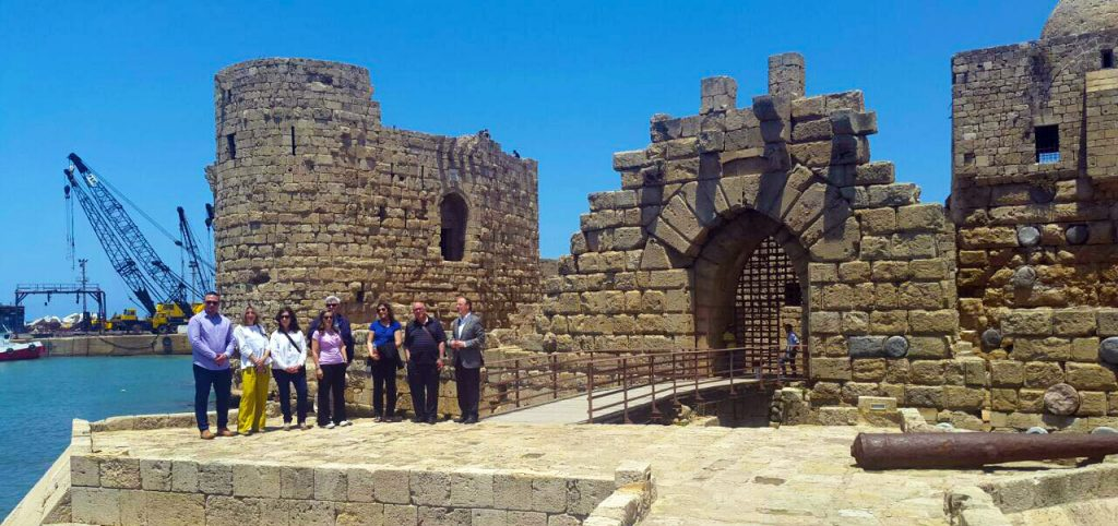 Nour Farra-Haddad, Ph.D., of NEOS Tourism Consulting, led conference participants on a familiarization tour of Lebanon's beautiful religious sites. From Left to Right: Jiří Boháč, Purchasing & Product Development manager at Q Events & Destination Management s.r.o.; Barbara Chiodi, Executive Director of Brevivet; Ma Dolores López Sánchez, Pilgrimage Department of ICSCO Foundation; Nour Farra-Haddad; Renee Hattar, Pilgrimage Department of ICSCO Foundation; Sir Rateb Rabie, KCHS; and Francisco Singul, Director of Culture for Saint James way, Galician Tourism Board.