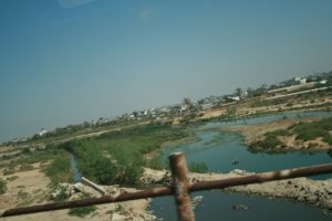 Sewage overflow in Gaza in 2010. Efforts to improve the water and sewage networks are stalled.