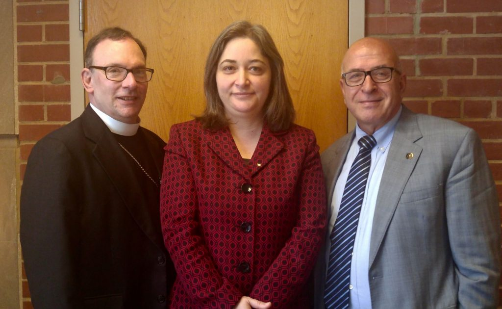 From left to right: The Very Reverend Richard Graham, Bishop of the Metropolitan Washington, D.C. Synod, Evangelical Lutheran Church in America; H.E. Rula Ma'ayah, Minister of MoTA; Mr. Rateb Rabie, HCEF President/CEO