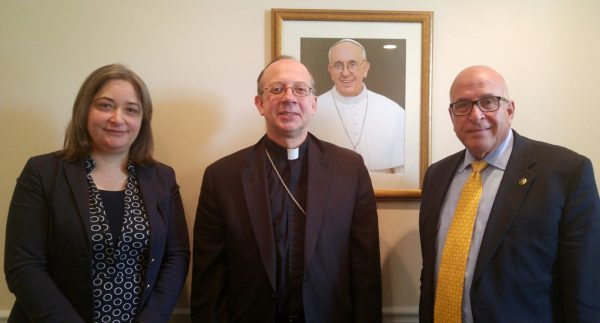 From left to right:  H.E. Rula Ma'ayah, Minister of MoTA; His Excellency, Bishop Barry Knestout, the Catholic Auxiliary Bishop of Washington, DC; Mr. Rateb Rabie, HCEF President/CEO