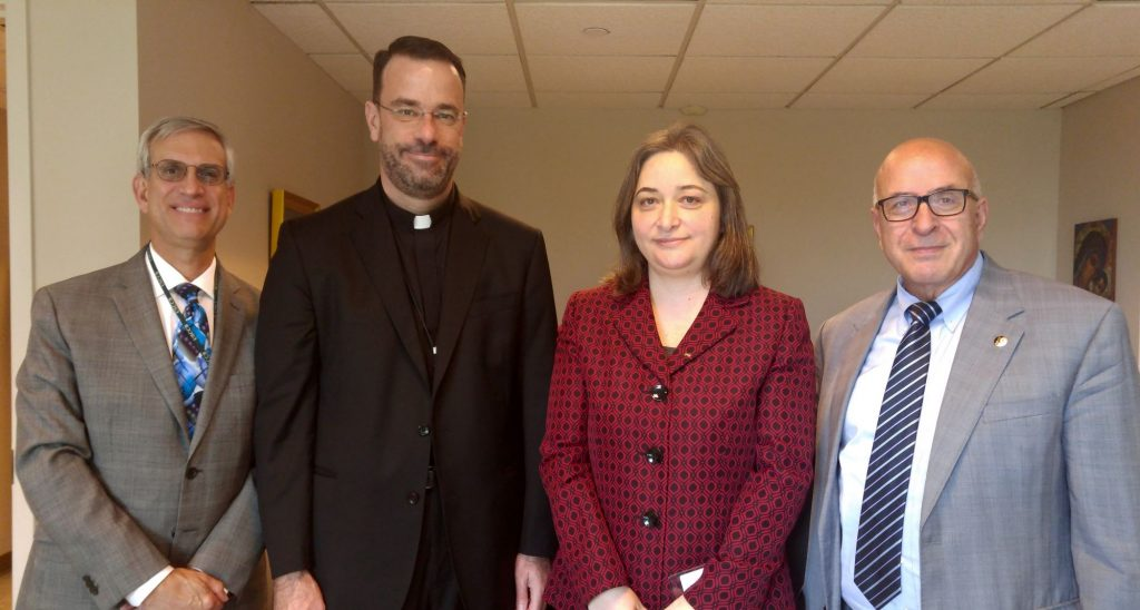 From left to right: Dr. Stephen Colecchi, Director of the Office of International Justice and Peace at the USCCB; Msgr. Bransfield, General Secretary of the USCCB; H.E. Rula Ma'ayah, Minister of MoTA; Mr. Rateb Rabie, HCEF President/CEO