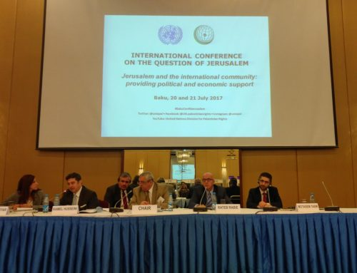 HCEF President/CEO speaks at International Conference on the Question of Jerusalem, Baku, organized by the United Nations