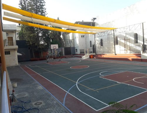 Shaded sports and recreational area project completed in Latin Patriarchate School in Gaza.