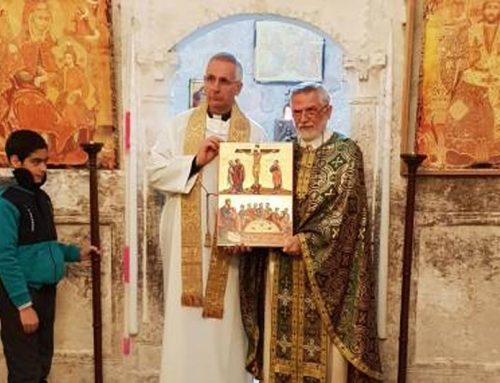 "SYRIA – The icon of the ""Mysterious Supper"" returns to the Syrian village of Maalula."