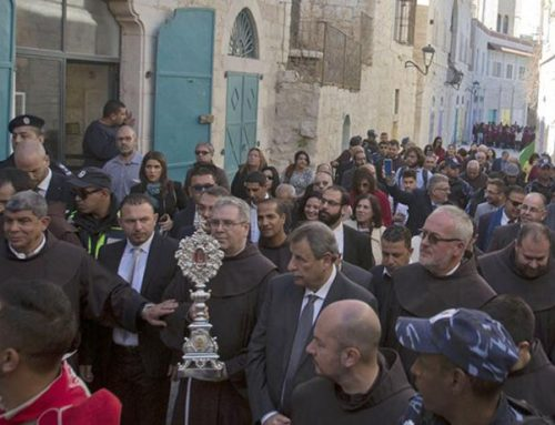 Bethlehem's festive Christians welcome relic of Christ's manger.