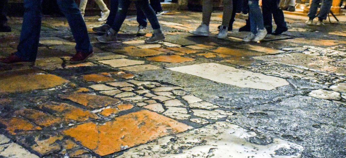 Basilica of Holy Sepulcher: floor mapping has started in preparation for restoration.