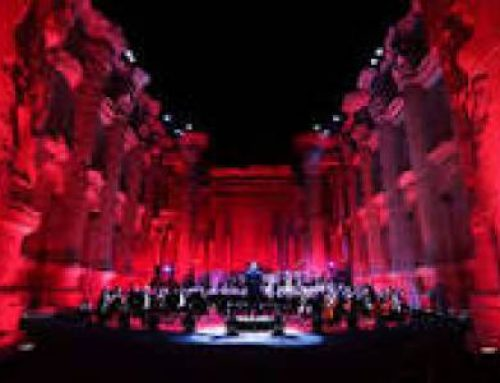 "LEBANON – Catholic University choirs at the ""Concert of Resilience"" among the archaeological remains of Baalbeck."