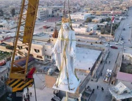 IRAQ – The statue of the Virgin Mary placed on the tower of the Catholic Church in Qaraqosh