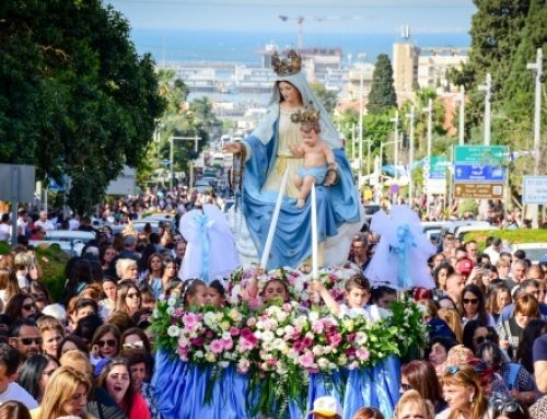 April 18: Traditional procession of Our Lady of Mt. Carmel in Haifa.