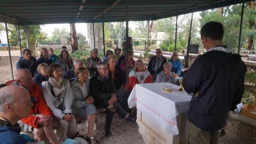 Carl and his congregation Mount of Beatitudes May 7